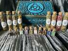 Witchs Apothecary Box with Herbs and Gemstone Glass Vials + Spells