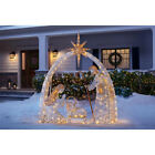 OUTDOOR NATIVITY SCENE Gold Christmas Yard Decoration Warm White LED Lights