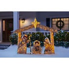 OUTDOOR NATIVITY SCENE Brown Christmas Yard Decoration Warm White LED Lights