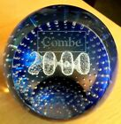 Attractive Caithness Millennium 2000 Combe Advertising Blue Glass Paperweight