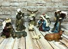 Vintage Fabric Nativity Set Mary Joseph Jesus Angel Wise Men Barn Animals 11 Pc