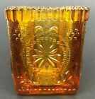 Vintage Antique EAPG Glass Toothpick Holder Amber Star LOVELY Floral Stippled