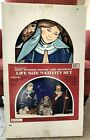 Vintage 3 Piece Life Size 2D Nativity Set Indoor Outdoor Lawn Wood Holy Family