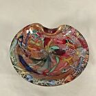 MCM Murano Art Glass Bowl AVEM Cranberry Red Tutti Frutti Gold flecks