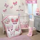Bedtime Originals Butterfly Kisses Pink Purple 3 Piece Baby Crib Bedding Set