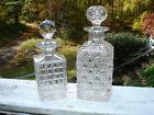 lot of 2 LIQUOR WHISKEY DECANTER VINTAGE GLASS CRYSTAL CLEAR BOTTLE WINE SQUARE