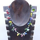 Vintage Hand Blown Glass Bird Bead Necklace Colorful