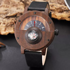 Natural Creative Turntable Compass Wrist Watch Dial Men Bamboo Ebony Wood Band