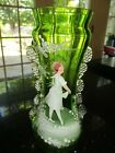 Antique Victorian Bohemian Green Glass Mary Gregory Vase