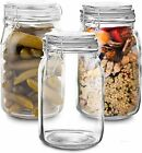 NEW Set of 3 Glass Jar with Lid 1 Liter  Airtight Glass Storage Container