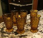 Vintage Lot of 6 Amber Indiana Glass Whitehall Cubist Pedestal Drinking Glasses