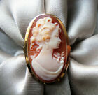 GORGEOUS VINTAGE ESTATE SIGNED 14K ITALY SHELL CAMEO PORTRAIT COCKTAIL RING