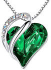 Infinity Love Heart Pendant Necklace Made with Crystals May Birthstone