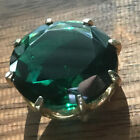 Vintage Large Emerald Green Color Round Faceted Glass Brooch Pin