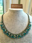 New Sorrelli Sea Glass Blue Turquoise Statement Silver Crystal Necklace