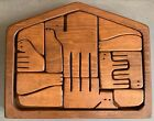 Vintage 70s Carved Wood Religious Nativity Puzzle Mid Century Modernist Animals