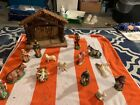 VINTAGE CHRISTMAS NATIVITY MADE IN ITALY PAPER MACHE SET WITH STABLE