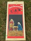 Vintage 3 Piece Yard Art Christmas Nativity Weatherproof Outdoor Decor w Stakes