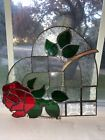 Beautiful Heart Shaped Stainglass Beveled Glass Frosted Floral Design Glass