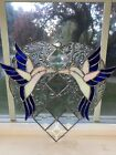 Beautiful Stainglass Hummingbirds Frosted Floral Glass Beveled Glass Heart Shape