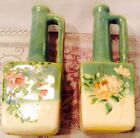 HAND PAINTED FLOWERS 2 PITCHERS ROSE BUD VASES in HAVILAND BARBOTINE STYLE