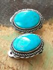 Vintage Handmade Sterling Silver  Turquoise Native American Earrings Clip On