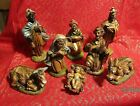 VTG 8 PC Nativity Creche Set of Figures Made in Italy Plaster Tan Bottom NICE