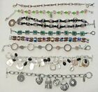lot of 8 bracelets one sterling silver with pink stones 7 1 2 Glass beads +