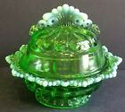 Westmoreland Green Glass Vaseline Opal Covered Candy Butter Dish Helmet Lid