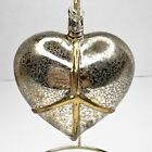Hand Blown Art Glass Ornament Puffy Heart Peace Sign Silver Textured Large 5