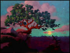 EE Glass Last Light with Rising Moon O P 9 X 12 Sandzen impressionism NR
