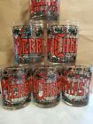 Vintage Merry Christmas Stained Glass Design Tumbler Glasses Highball Set of 6