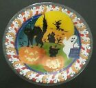Peggy Karr Glass Black Cat  Ghost 11 Halloween Bowl NEW in Box Made in USA