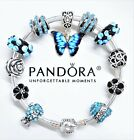 AUTHENTIC PANDORA BRACELET SILVER BANGLE BUTTERFLY LOVE HEART EUROPEAN CHARMS