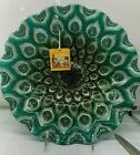 Teal Green Peacock Bowl Dish Decorative Serving Bowl 12 Large New Glass Turkey