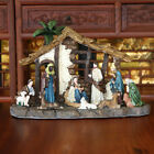 Light Up LED Freestanding Christmas Nativity Set Scene Crib Stable With Figures