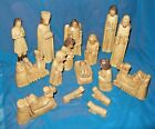 Wooden Hand Carved Nativity Scene 17 Pieces