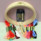 Nurge Wooden Punch Embroidery Hoop 190mm Needle Set Coloured Threads Starter Kit