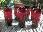 6 VINTAGE RUBY RED DIAMOND AND LEAF TUMBLER DRINKING GLASSES