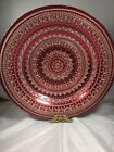 Glass Bowl 16 Inches Red And Silver Design Turkish Intricate patternShallow
