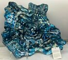 Blue Silver Abstract Glass Plate Bowl Platter Decorative Italy New NWT 165