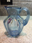 GORGEOUS FENTON BLUE GLASS HAND PAINTED FLOWERS  VINES SYRUP PITCHER SIGNED