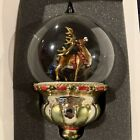 Komozja Family Blown Glass Reindeer with Gold Antlers Cloche Christmas Ornament