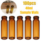 Lab 40ml Amber Glass Bottle Sample Vialscaps 24-400mm Thread Screw Top 100pcs