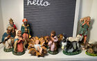 Vintage Paper Mache Composition Nativity Set Made in Italy 13 Pieces Mixed LOT