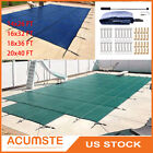 Pool Safety Cover Rectangle Winter In Ground Swimming Pool Mesh Solid Cover US