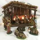 Nativity Scene Set Vintage Christmas 10 Pieces With Stable