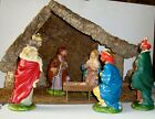 Nativity Figures with Wood Moss Grotto Stable Holy Family 3 Kings inv39