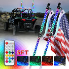 Xprite 2x 5ft Multicolor LED Spiral Lighted Whip Antenna w Flag Remote Control