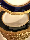 Set 12 Antique Limoges Pouyat Raised Gold Encrusted Flow Blue Salad Plates 85